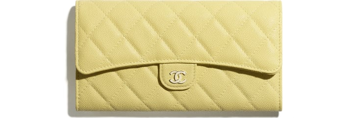 image 1 - Classic Long Flap Wallet - Grained Calfskin & Gold-Tone Metal - Yellow
