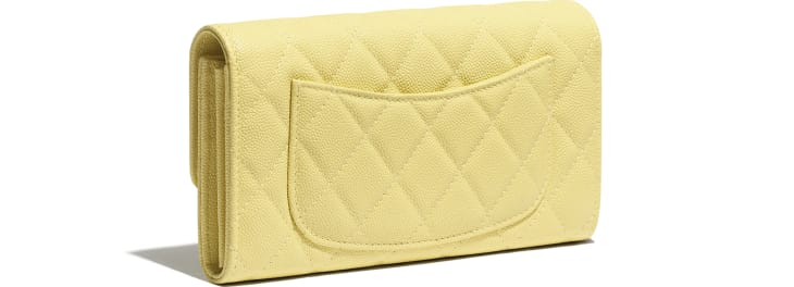 image 4 - Classic Long Flap Wallet - Grained Calfskin & Gold-Tone Metal - Yellow