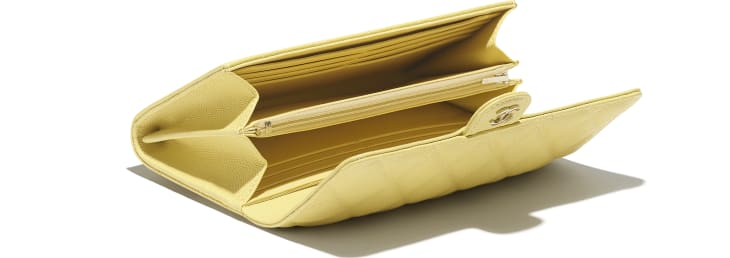 image 3 - Classic Long Flap Wallet - Grained Calfskin & Gold-Tone Metal - Yellow