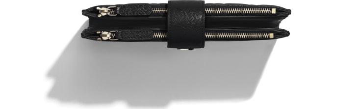 image 2 - 클래식 롱 지퍼 지갑 - 유광 그레인드 카프스킨, 골드 메탈 - 블랙