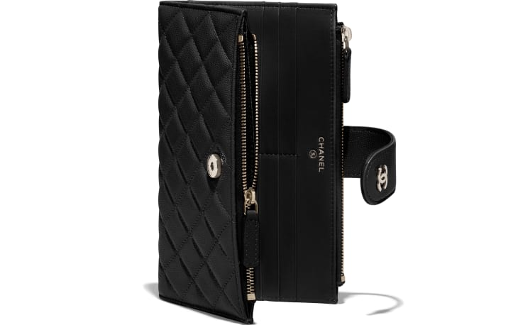 image 4 - Classic Long Zipped Wallet - Grained Shiny Calfskin & Gold-Tone Metal - Black