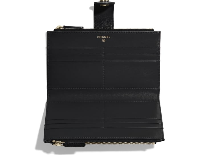 image 3 - Classic Long Zipped Wallet - Grained Shiny Calfskin & Gold-Tone Metal - Black