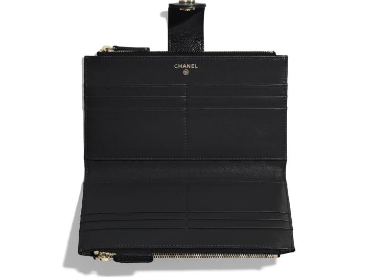 image 3 - 클래식 롱 지퍼 지갑 - 유광 그레인드 카프스킨, 골드 메탈 - 블랙