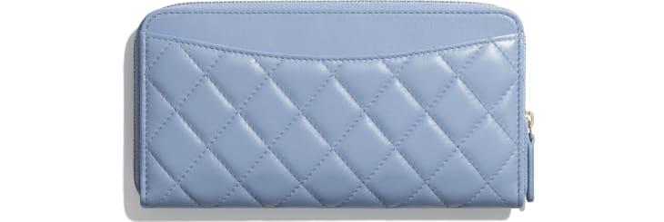 image 2 - 클래식 롱 지퍼 지갑 - 램스킨, 골드 메탈 - 스카이 블루