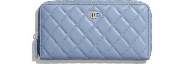 image 1 - 클래식 롱 지퍼 지갑 - 램스킨, 골드 메탈 - 스카이 블루