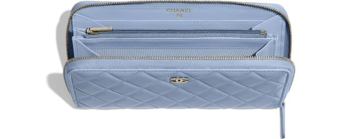 image 3 - 클래식 롱 지퍼 지갑 - 램스킨, 골드 메탈 - 스카이 블루