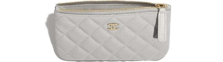 image 2 - Classic Mini Pouch - Grained Calfskin & Gold-Tone Metal - Gray