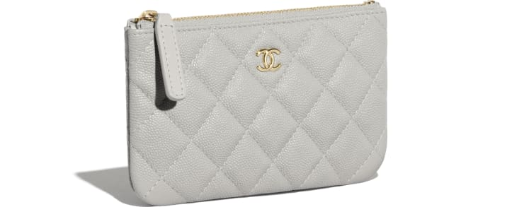 image 4 - Classic Mini Pouch - Grained Calfskin & Gold-Tone Metal - Gray