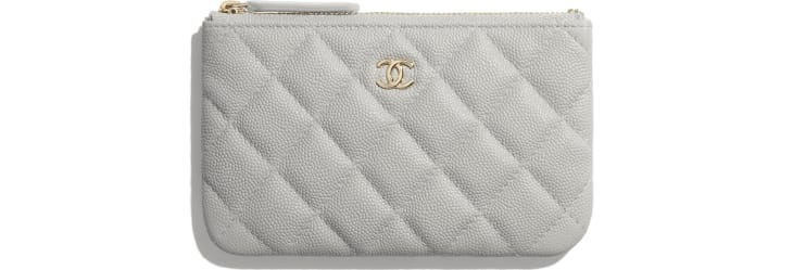 image 1 - Classic Mini Pouch - Grained Calfskin & Gold-Tone Metal - Gray