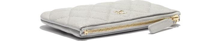 image 3 - Classic Mini Pouch - Grained Calfskin & Gold-Tone Metal - Gray