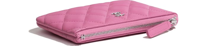 image 3 - Mini Case Clássica - Couro De Cordeiro & Metal Prateado - Neon Pink