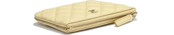 image 4 - Mini pochette classique - Agneau & métal doré - Jaune