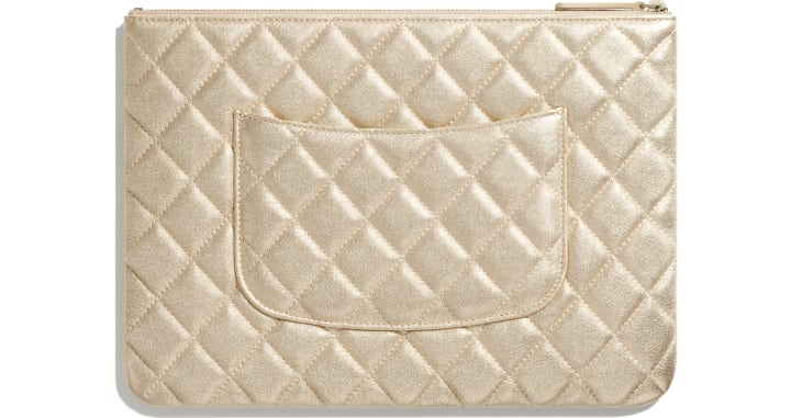image 2 - Classic Pouch - Metallic Lambskin & Gold-Tone Metal - Gold
