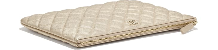 image 4 - Classic Pouch - Metallic Lambskin & Gold-Tone Metal - Gold