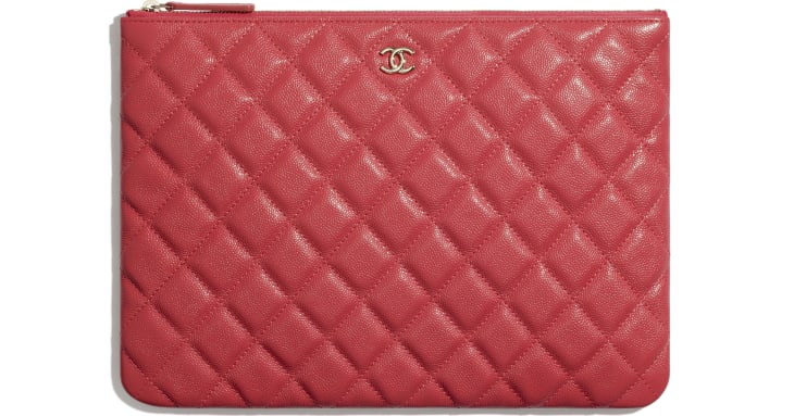 image 1 - Classic Pouch - Grained Calfskin & Gold-Tone Metal - Red