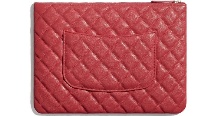 image 3 - Classic Pouch - Grained Calfskin & Gold-Tone Metal - Red