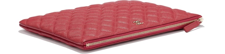 image 4 - Classic Pouch - Grained Shiny Calfskin & Gold-Tone Metal - Red