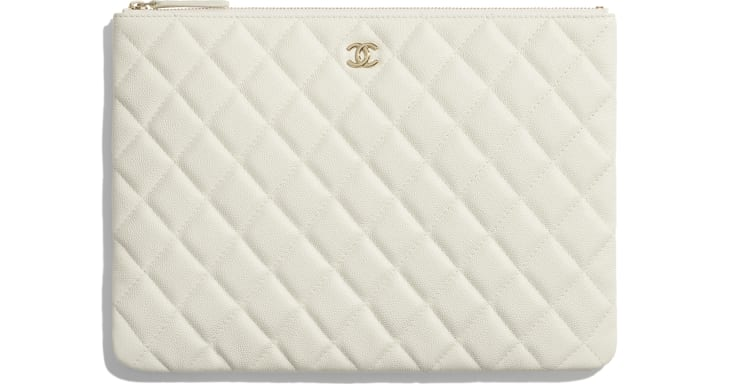 image 1 - Classic Pouch - Grained Calfskin & Gold-Tone Metal - White