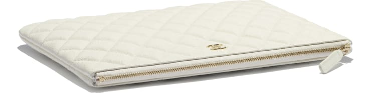 image 3 - Classic Pouch - Grained Calfskin & Gold-Tone Metal - White