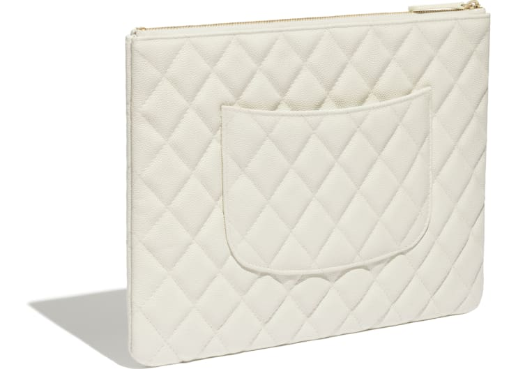 image 4 - Classic Pouch - Grained Calfskin & Gold-Tone Metal - White