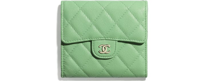 image 1 - Classic Small Flap Wallet - Grained Calfskin & Gold-Tone Metal - Green