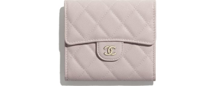 image 1 - Classic Small Flap Wallet - Grained Calfskin & Gold-Tone Metal - Light Pink