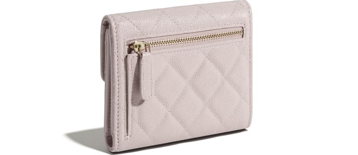 image 4 - Classic Small Flap Wallet - Grained Calfskin & Gold-Tone Metal - Light Pink