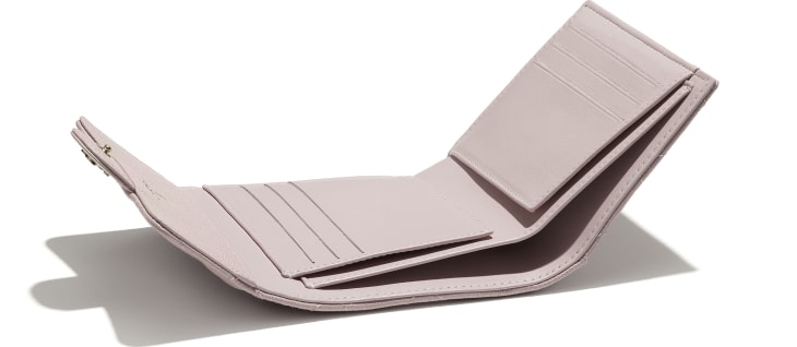 image 3 - Classic Small Flap Wallet - Grained Calfskin & Gold-Tone Metal - Light Pink