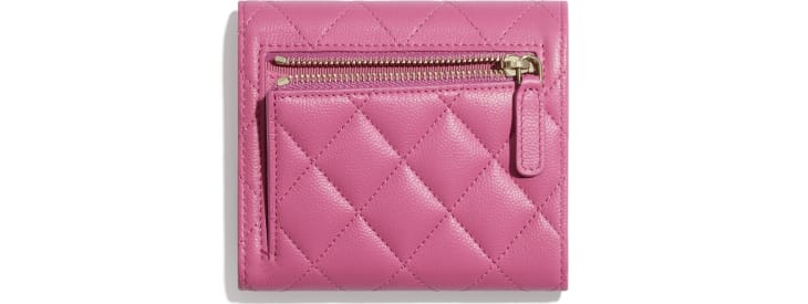 image 2 - Classic Small Flap Wallet - Grained Shiny Calfskin & Gold-Tone Metal - Pink