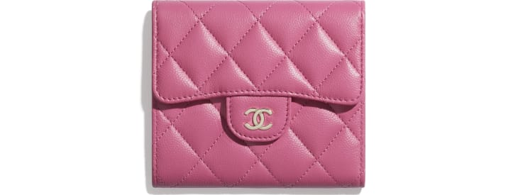 image 1 - Classic Small Flap Wallet - Grained Shiny Calfskin & Gold-Tone Metal - Pink