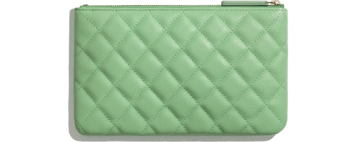 image 2 - Classic Small Pouch - Grained Calfskin & Gold-Tone Metal - Green