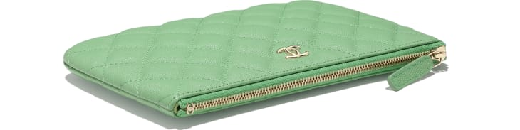 image 4 - Classic Small Pouch - Grained Calfskin & Gold-Tone Metal - Green
