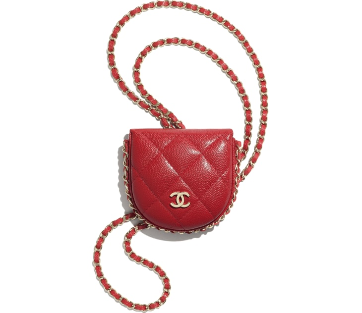 image 1 - Classic Tray Coin Purse with Chain - Grained Calfskin & Gold-Tone Metal - Red