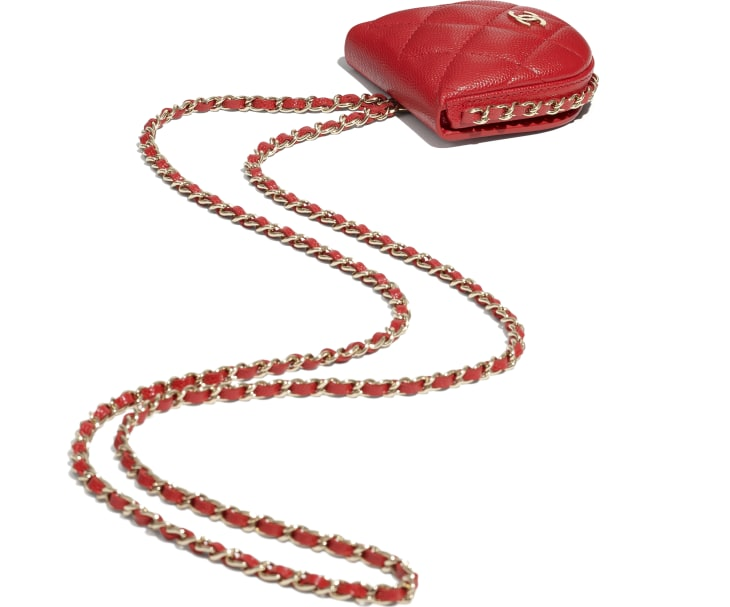 image 4 - Classic Tray Coin Purse with Chain - Grained Calfskin & Gold-Tone Metal - Red