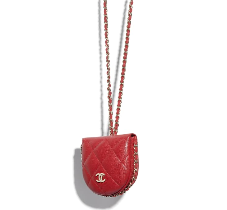image 3 - Classic Tray Coin Purse with Chain - Grained Calfskin & Gold-Tone Metal - Red