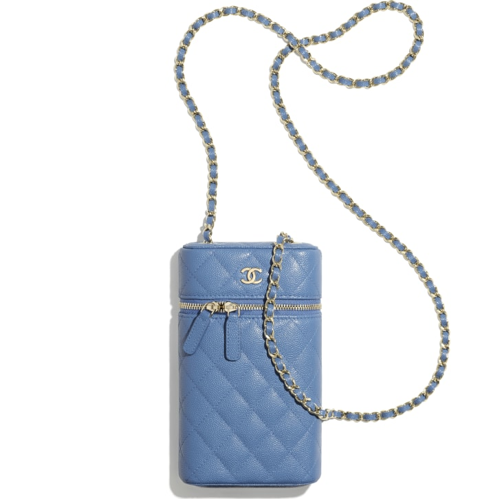 image 3 - Classic Vanity Phone Holder with Chain - Grained Calfskin & Gold-Tone Metal - Blue