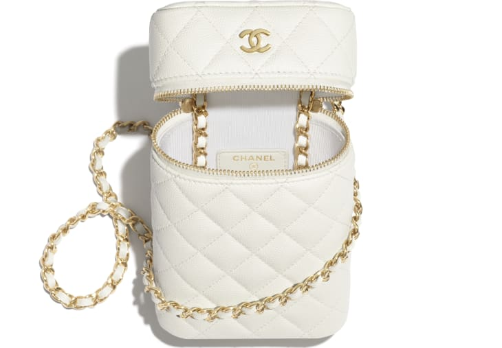 image 2 - Classic Vanity Phone Holder with Chain - Grained Calfskin & Gold-Tone Metal - White