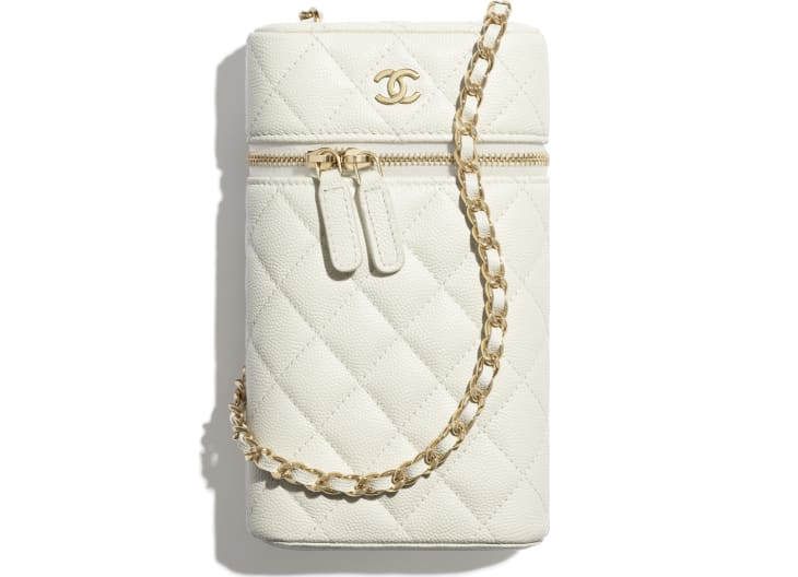 image 1 - Classic Vanity Phone Holder with Chain - Grained Calfskin & Gold-Tone Metal - White