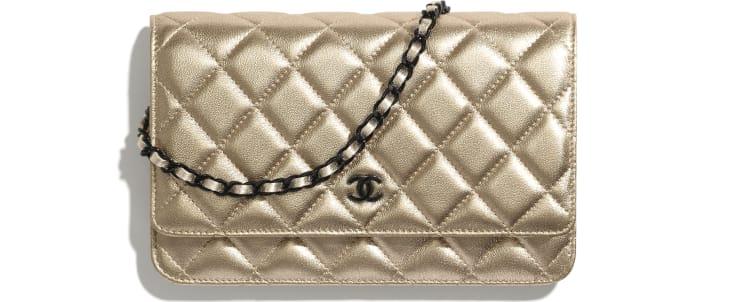 image 1 - Wallet on chain classique - Agneau métallisé & métal noir - Doré