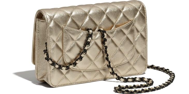 image 4 - Wallet on chain classique - Agneau métallisé & métal noir - Doré