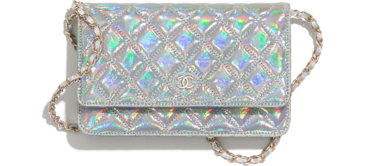 image 1 - Classic Wallet on Chain - Iridescent Goatskin & Gold-Tone Metal - Silver