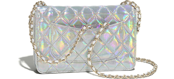 image 4 - Classic Wallet on Chain - Iridescent Goatskin & Gold-Tone Metal - Silver