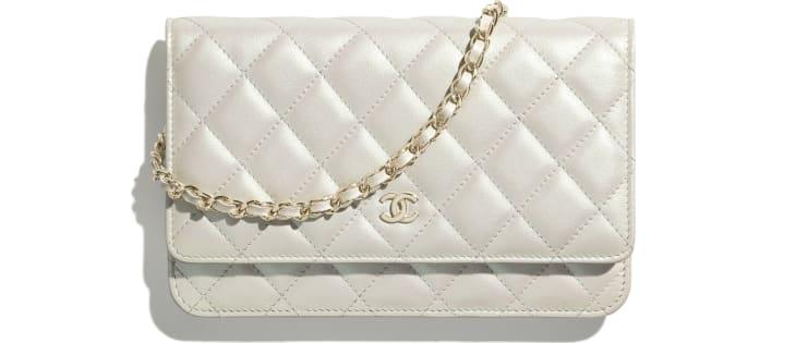 image 1 - Wallet on chain classique - Veau irisé & métal doré - Blanc