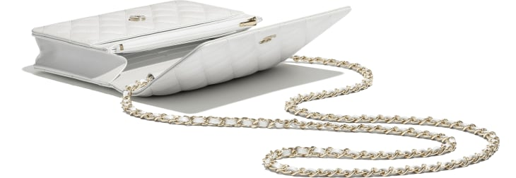 image 3 - Wallet on chain classique - Veau irisé & métal doré - Blanc