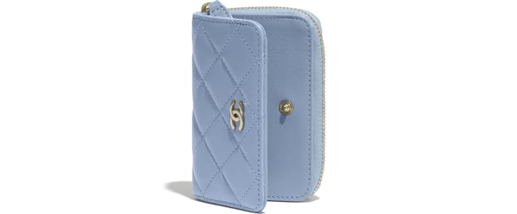 image 4 - Classic Zipped Coin Purse - Lambskin - Sky Blue