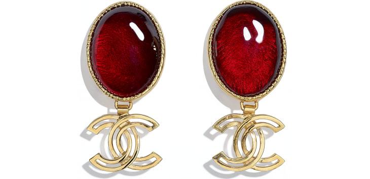 image 1 - Clip-on Earrings - Metal & Resin - Gold & Burgundy
