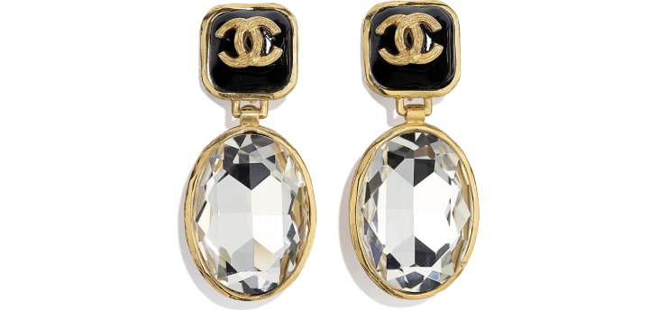 image 1 - Clip-on Earrings - Metal, Strass & Resin - Gold, Crystal & Black