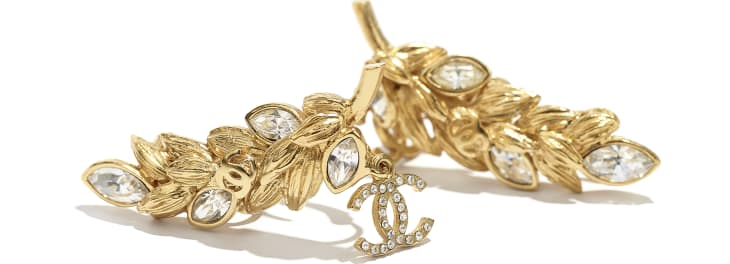 image 2 - Clip-on Earrings - Metal & Strass - Gold & Crystal