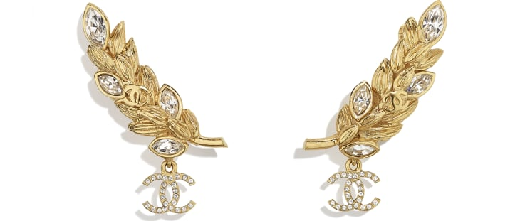 image 1 - Clip-on Earrings - Metal & Strass - Gold & Crystal