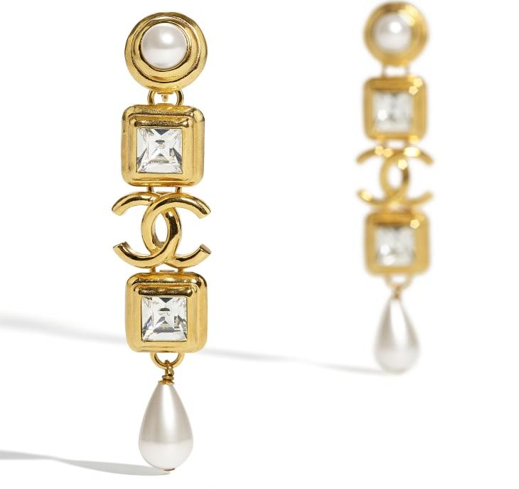 image 2 - Boucles d'oreilles clip - Métal, perles de verre, perles d'imitation & strass - Doré, blanc nacré & cristal
